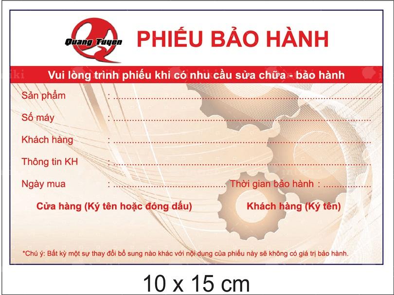 Phieu bao hanh giup nha cung ung tao duoc an tuong nhieu hon cho khach hang - In phiếu bảo hành - dịch vụ in ấn thu hút lượng cầu cao trên thị trường